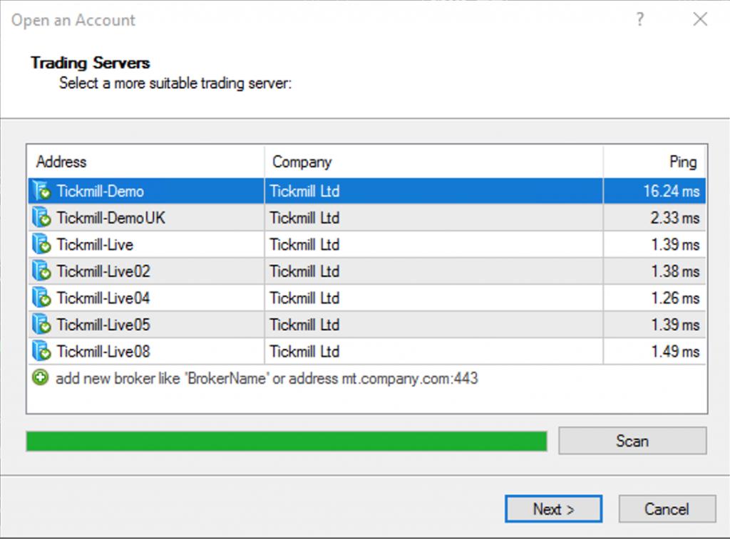 Ping Latency Broker Tickmill lokasi Server UK